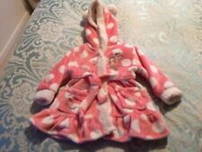Disney MINNIE MOUSE Girls Pink Fluffy Fleece Dressing Gown Bathrobe Age 9-12 NEW