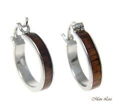 Koa Wood Hawaiian Rhodium Plated Brass 19mm Round Hoop Snap Closure Earrings