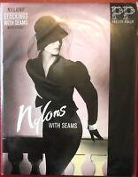 Vintage Rare Pretty Polly Seamed nylon Stockings Shoe size 3-4.5 Ivory