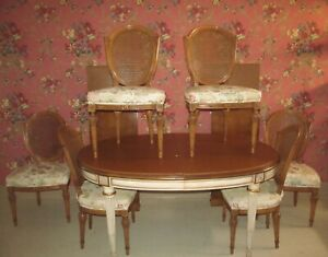 Karges French Regency Louis XV Dining Table Set & 6 matching carved chairs