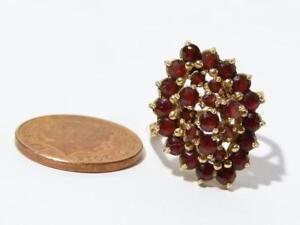 Vintage 9ct Gold Garnet Cluster Ring UK Size M, 1972 Large Raised Mount   #R4