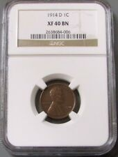 1914 D UNITED STATES LINCOLN WHEAT CENT COIN NGC EXTREMELY FINE 40 BROWN