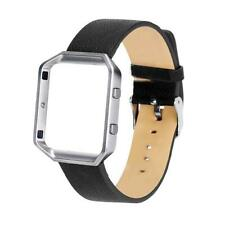 Genuine Leather Silicone Watch Band Strap + Metal Frame For Fitbit Blaze Watch