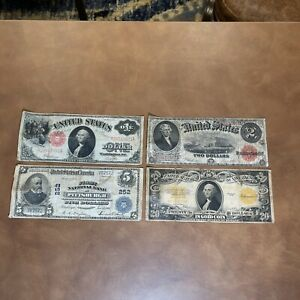 1902 large $5 National Currency First National Bank Of Pittsburgh PA. & More....