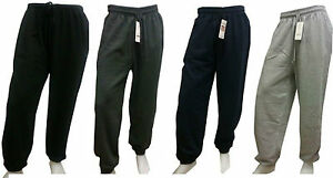 MENS FLEECE JOGGING ELASTICATED JOGGERS TRACKSUIT BOTTOMS CUFFED TROUSERS M-5XL