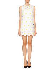 NWD Dolce & Gabbana Daisy Macrame Shift Dress, White/Yellow - Size 8