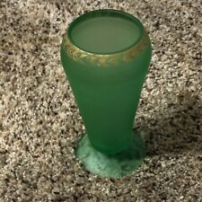 """Tiffin Glass Green Satin Cupped Dahlia Vase with Gold Trim 6 3/4"""" Glows ?"""