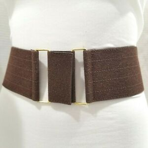 Ladies Elastic Band Brown Belt W/ a Unique Buckle Size XS/S/M
