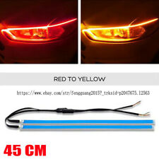 2PCS 45cm RED+Yellow car Auto LED Turn signal DRL Driving Daytime Running Light