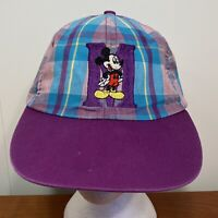 Mickey Mouse Vintage Baseball Hat Snapback Cap Plaid Purple Disney 90s Adult USA