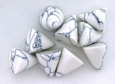 TWO 13mm x 10.5mm Highdome Bullet Reconstructed White Howlite Cab Cabochon Gem