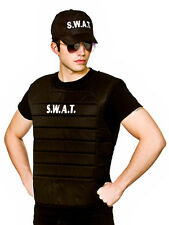 Mens Swat Team Vest & Hat Set Fancy Dress Police FBI Military Style Costume New