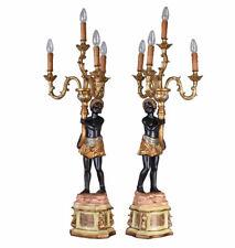 Zwei Palast Kandelaber Venedig Mohr Lampe Tischlampe Barock Tischleuchte Antik