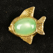 """VTG Gold Tone Metal Goofie Realistic Sewing Button Fish Green Moonglow 7/8"""""""