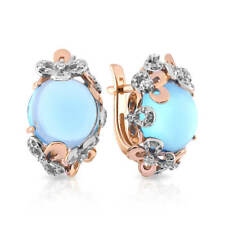 Earrings NEW Russian Solid Rose Gold 14K 585 USSR fine jewelry blue topaz 5.68g