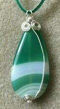 Green Agate Woven Pendant Necklace