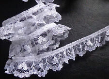 Ruffled Lace, 1 inch wide white color selling by the yard