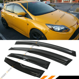 FOR 09-18 FORD FOCUS 4 DOOR HATCHBACK ST WAVY 3D STYLE SMOKE WINDOW VISOR SHADE