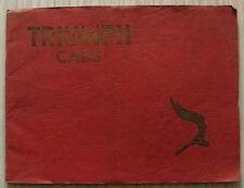 TRIUMPH DOLOMITE & VITESSE Car Sales Brochure 1938 14/60 SALOON 2 Litre