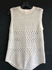 INHABIT size small off white cashmere linen sleeveless sweater