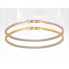 Rose Gold Plated Bracelet Made with Swarovski Crystals Snap Lock Clasp Gift Idea