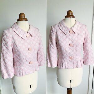 Phase Eight Cropped Jacket Blush Pink Vintage-style 60s Sz8 Spots Wedding Summer