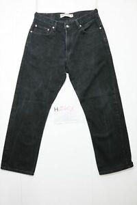 Levi's 505 regular fit usato (Cod.H2401) W34 L30 denim jeans nero grado A