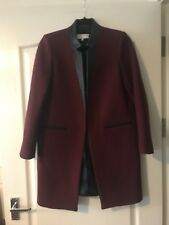 (Final Clearance) Maroon/Wine Coloured Wool Size 8 Sandro Paris Coat RRP 280