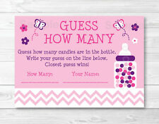 "Pink Chevron Butterfly Printable Baby Shower ""Guess How Many?"" Game Cards"