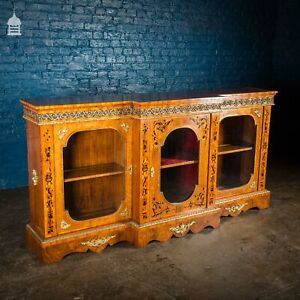 19th C French Empire Walnut Credenza with Intricate Marquetry and Brass Reliefs