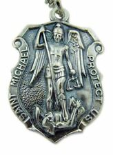 """Patron Saint Michael 1 1/4"""" Badge Shape Silver Tone Medal w 24"""" Chain Necklace"""