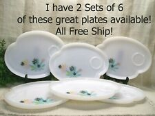 FreeShip~ Set of 6 Pink Aqua Black Flower Patio Snack Plates by FEDERAL GLASS
