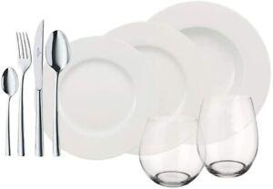 Villeroy & Boch Wonderful World White 36 Piece Porcelain Plate & Soup Dining Set