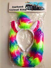 Animal Ears Bow Tail Set Costume Accessory Fancy Dress Party Kids Adults Kit Rainbow Unicorn Headband - With Hair