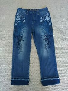 Desigual Floral Embroidered Celana Jeans Size 28