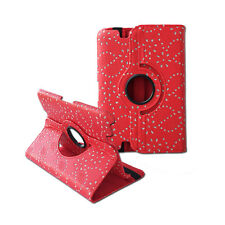 """360 Rotating Diamond Flower Folio Red Cover Case for Amazon Kindle Fire HD 7"""""""