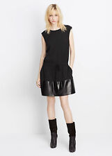 VXS NWT VINCE LEATHER CONTRAST BAND DRAWSTRING WOMEN DRESS SIZE XS $495
