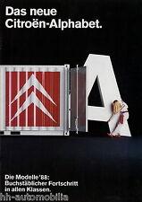 Citroën alphabet prospectus 1988 brochure autoprospekt AX BX CX 2cv c15 CITROEN