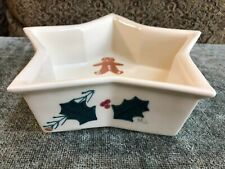 Hartstone Gingerbread Star Bowl Christmas Holly Pine Candy Serving Trinket Dish
