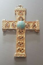 Stone for Necklace 6cm x 4cm Gold Tone Cross Crucifix Pendant with Blue
