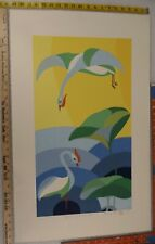LIMITED EDITION SIGNED ART PRINT CHINESE ARTIST PAK HING KAN REFLECTION OF BIRDS