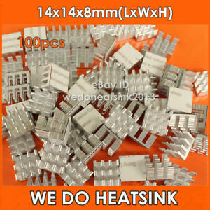 100pcs 14x14x8mm Aluminum Xbox 360/ Computer RAM Memory Heat Sinks Cooler DDR