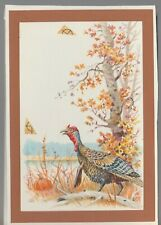 "TURKEY in Fall Woods & Pumpkin 4.75x7"" #7912 Thanksgiving Greeting Card Art"