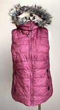 Green Tea Jacket  Purple Sleeveless Vest Soft Fleece Lined Hood Faux Fur Sz M