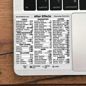 Adobe After Effects Reference Guide Shortcut No-residue Vinyl Sticker Mac/PC