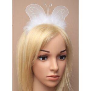 Butterfly wings Fancy Dress Party Alice white fluffy Wings Headband party dress