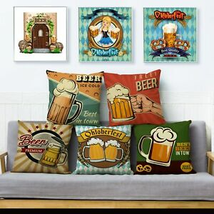 Vintage Cheers Beer Wine Print Pillow Cover Fashion Home Decor Cushions Cover