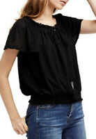 Free People Womens Hummingbird OB774701 Top Relaxed Black Size XS