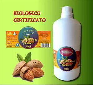 OLIO DI MANDORLE DOLCI PURO  100% DA  BIO CERTIFICATO BIOCERTITALIA 1000 ml