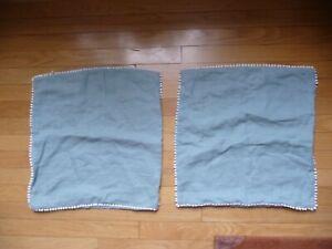 "Magic Linen Set of 2 Pillow Shams Teal Blue White Trim 18""x18"" Super Cute"